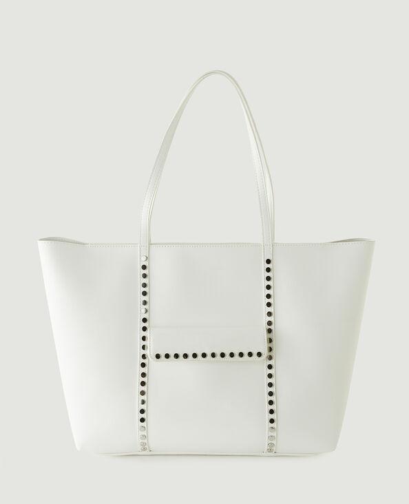 Borsa shopping in similpelle con borchie bianco - Pimkie