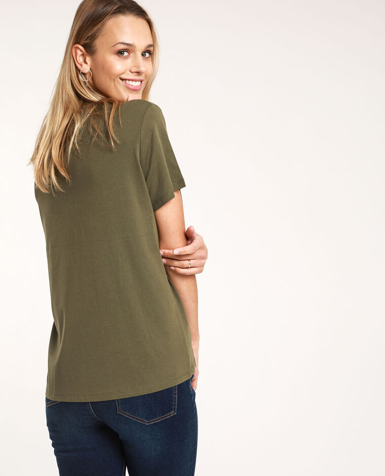 T-shirt con messaggio kaki