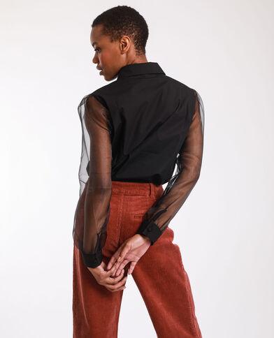 Camicia bimateriale nero