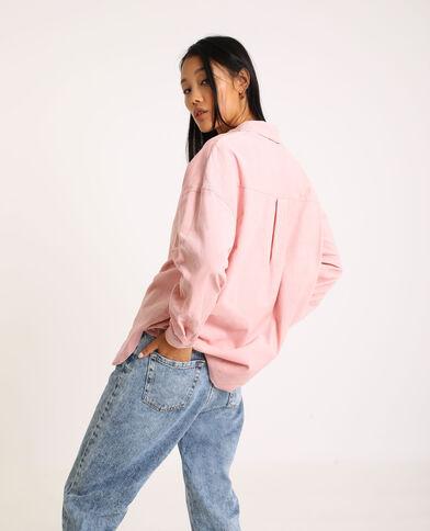 Camicia oversize in velluto a coste rosa