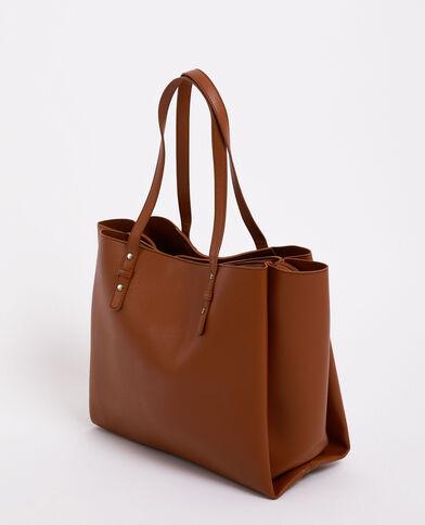 Borsa shopping in finta pelle marrone