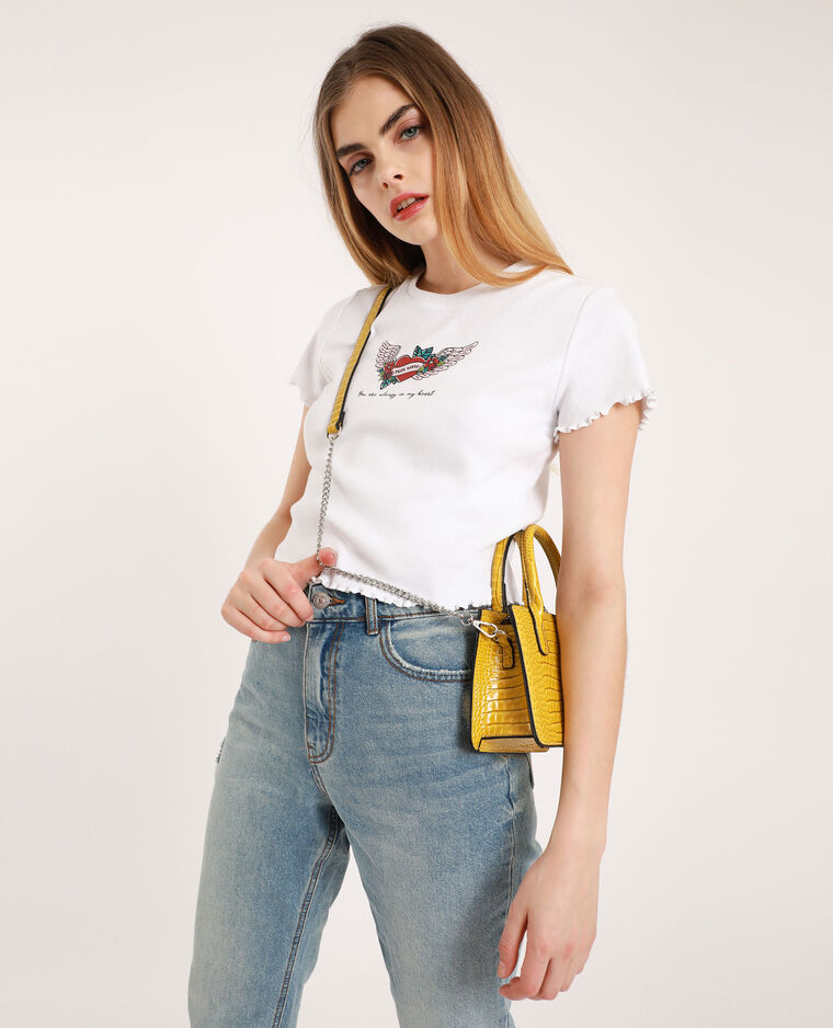 Top cropped stampato bianco sporco