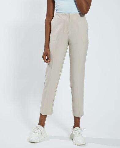 Pantalone con motivi pied-de-poule beige - Pimkie