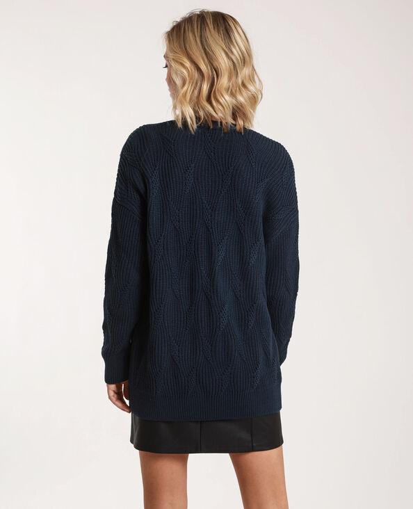 - Cardigan in maglia fantasia. blu marino