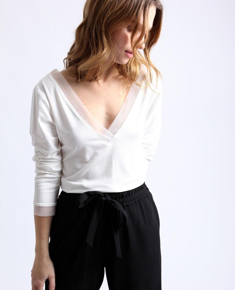 T-shirt collo a V bianco sporco