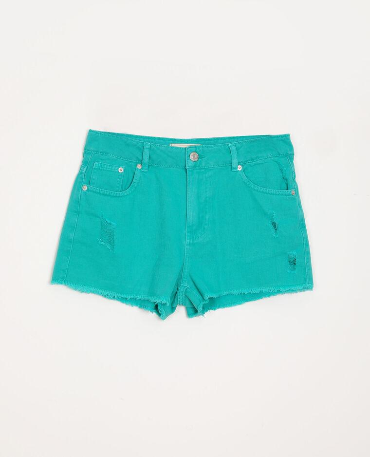 Short di jeans destroy verde acqua