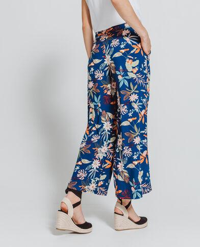 Pantalone largo a fiori blu marino
