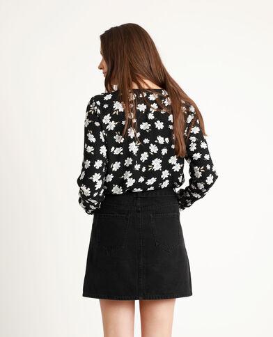 Body camicia a fiori nero