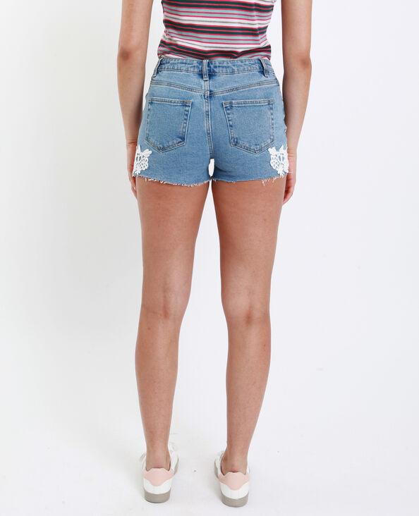 Short mid waist ricamato blu denim