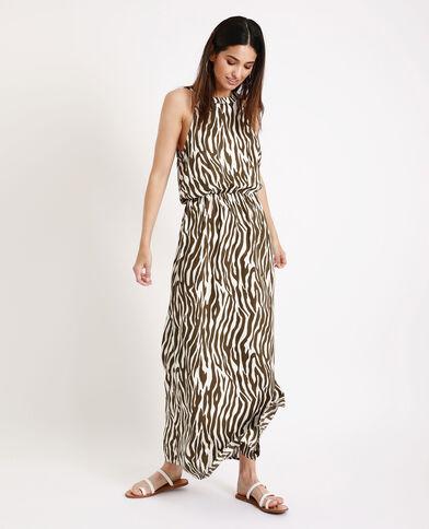 Abito lungo zebrato kaki