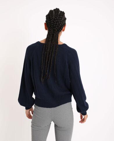 Cardigan in maglia traforata blu marino