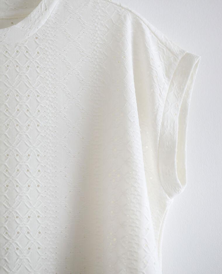 T-shirt con ricami bianco sporco - Pimkie