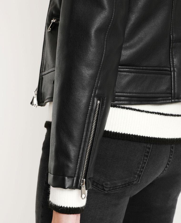 Giacca da motociclista in similpelle nero