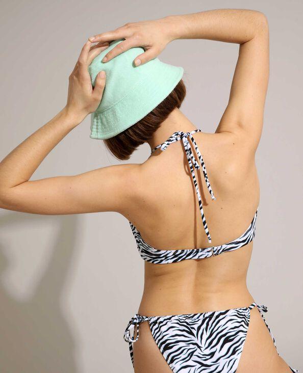 Pezzo sopra di costume da bagno a fascia convertibile con motivo zebrato bianco - Pimkie