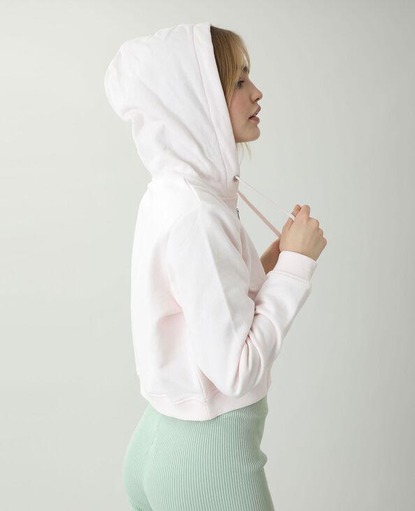 Felpa corta con cappuccio in tessuto felpato rosa cipria - Pimkie