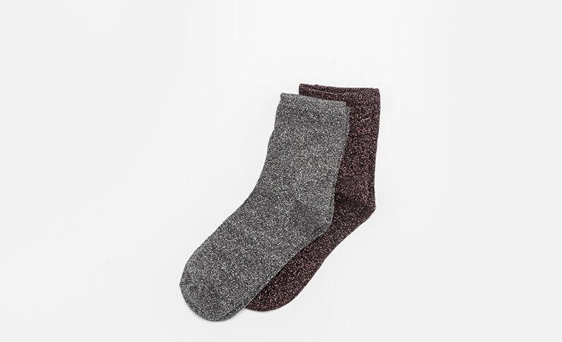Lotto da 2 paia di calze lurex grigio