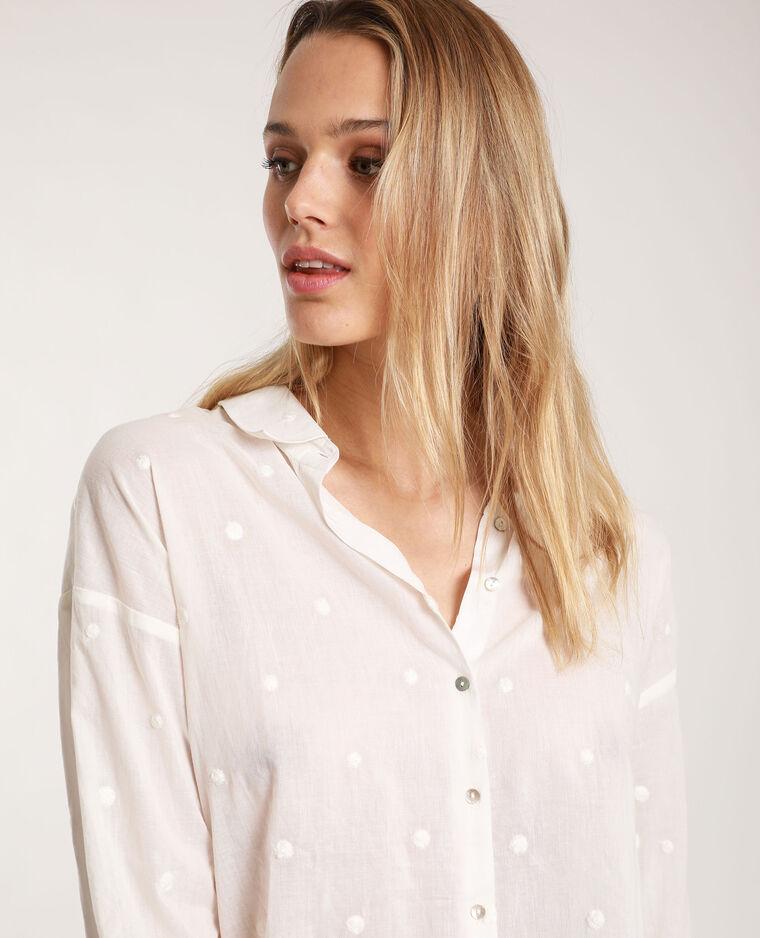 Camicia con motivi bianco sporco