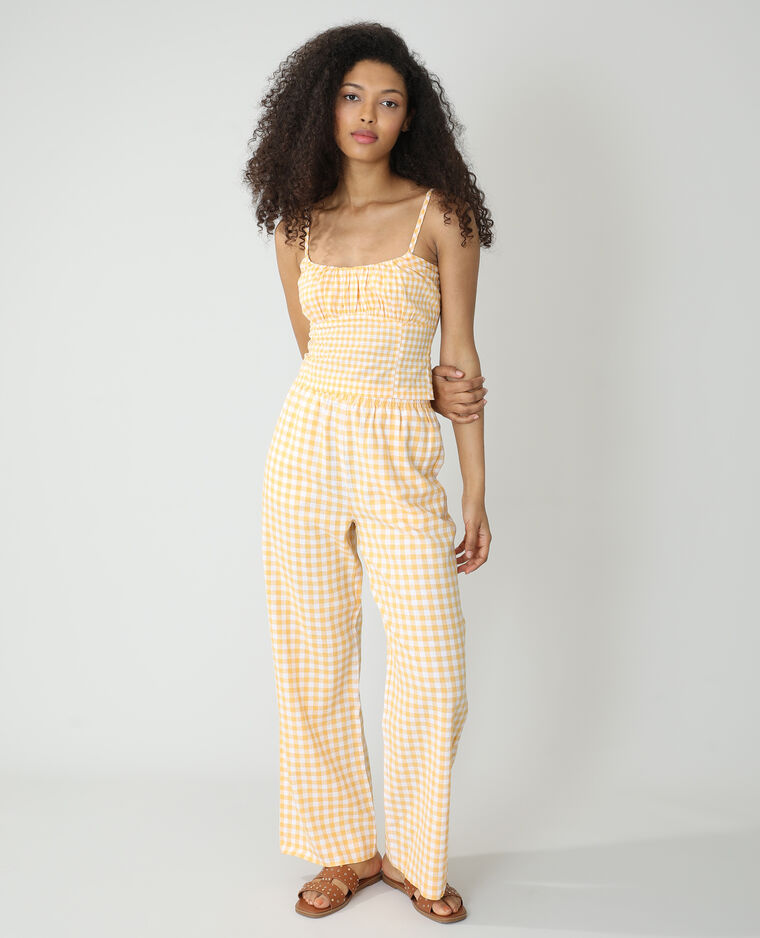 Pantalone wide legs Vichy arancio - Pimkie