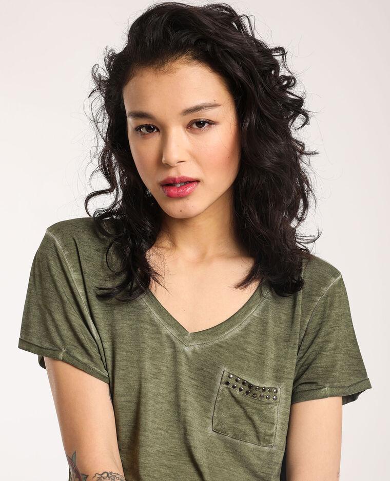 T-shirt con collo a V verde
