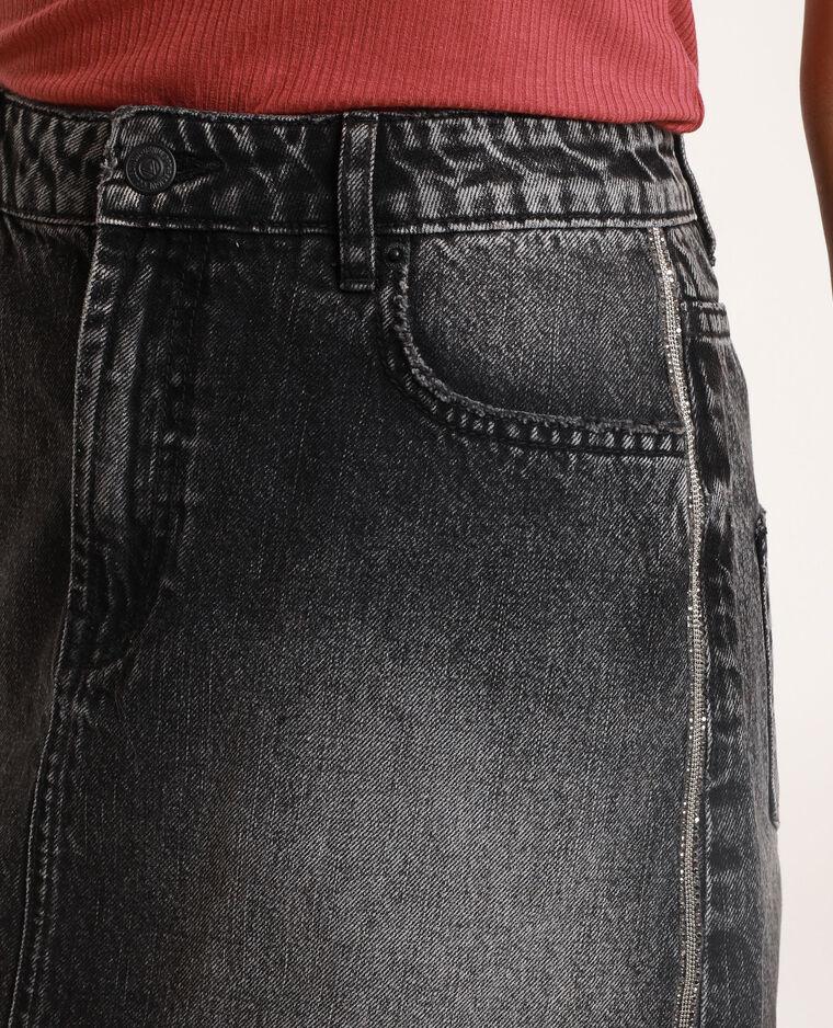 Gonna in jeans con strass grigio scuro