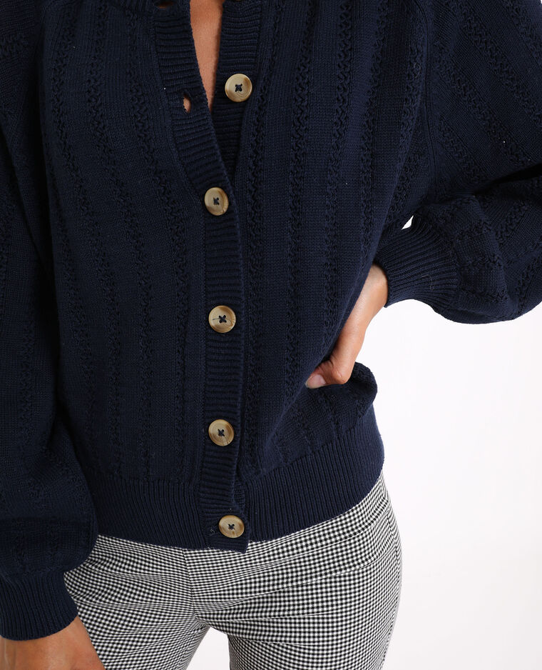 Cardigan in maglia traforata blu marino - Pimkie