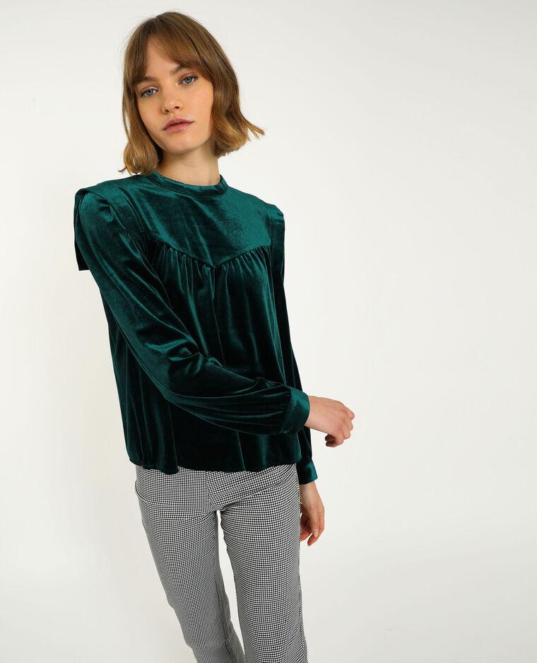 Top in velluto liscio verde - Pimkie