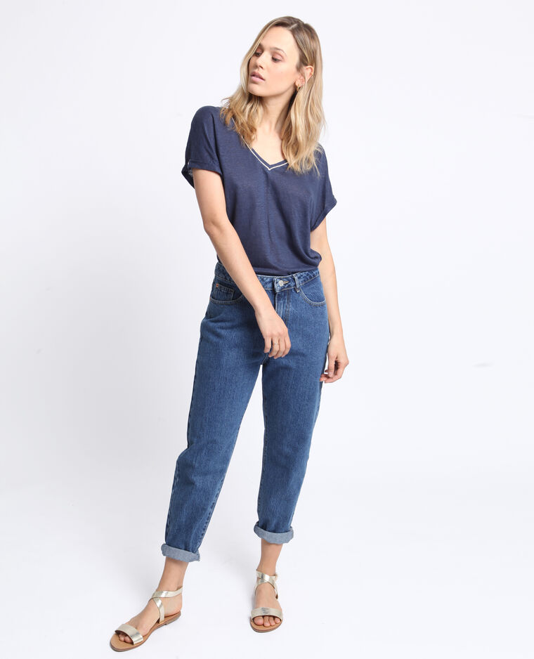 T-shirt collo a V blu marino