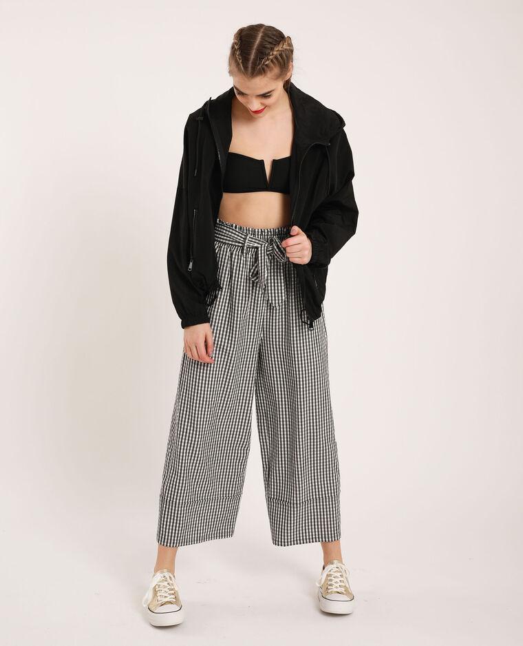 Pantalone largo a quadri nero