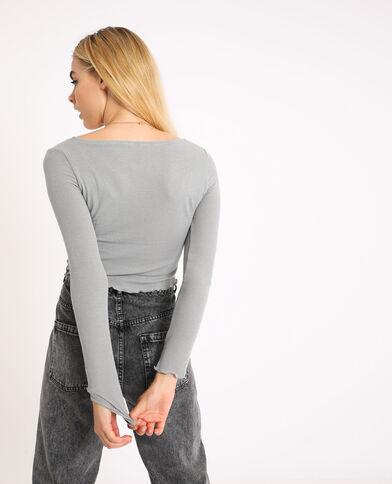 Top corto a maniche lunghe. grigio chiné