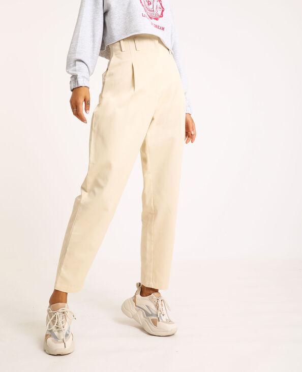 Pantalone city high waist beige corda