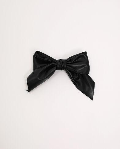 Pinza con fiocco in similpelle nero