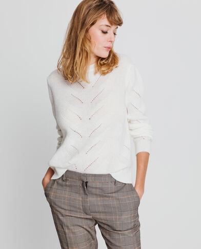 - Pull corto in maglia traforata. bianco sporco