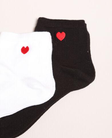 Lotto di calze con cuore bianco