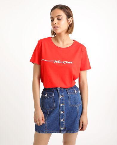 T-shirt ricamata rosso