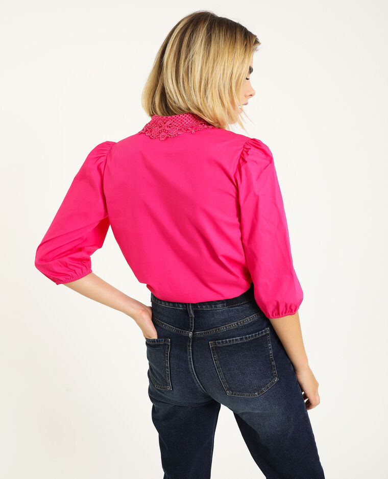 Camicia con collo in pizzo rosa fucsia