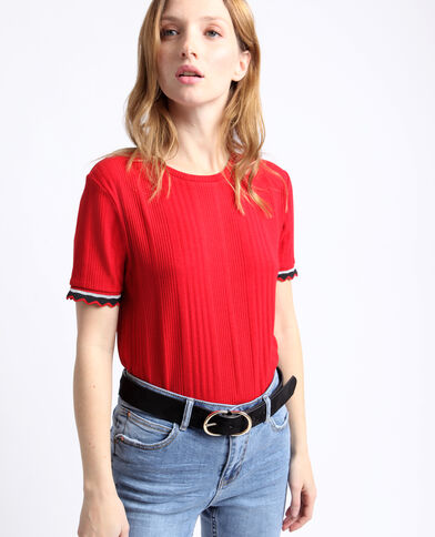T-shirt in maglia a coste rosso