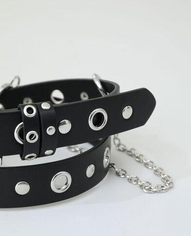 Cintura con borchie e catena nero - Pimkie