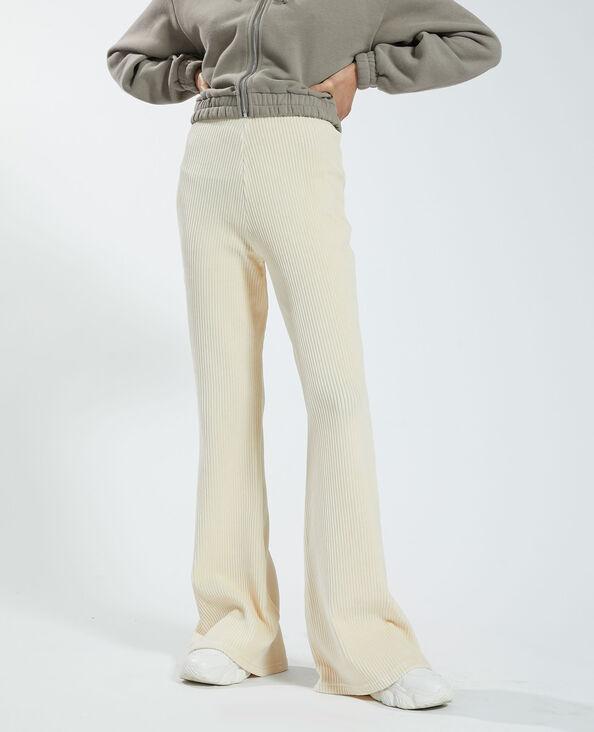 Pantalone flare a coste beige - Pimkie