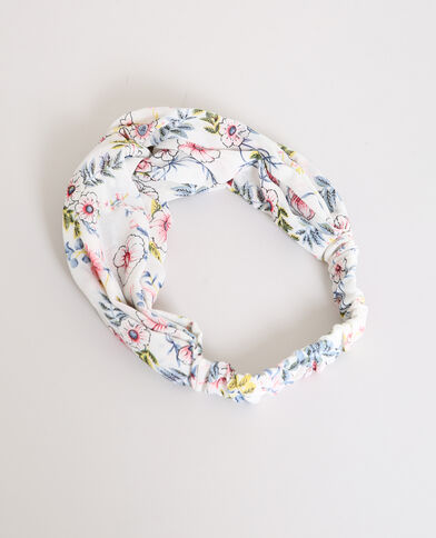 Headband a fiori bianco sporco
