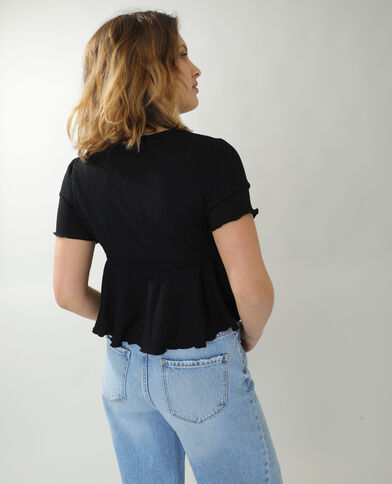 T-shirt con volant nero - Pimkie