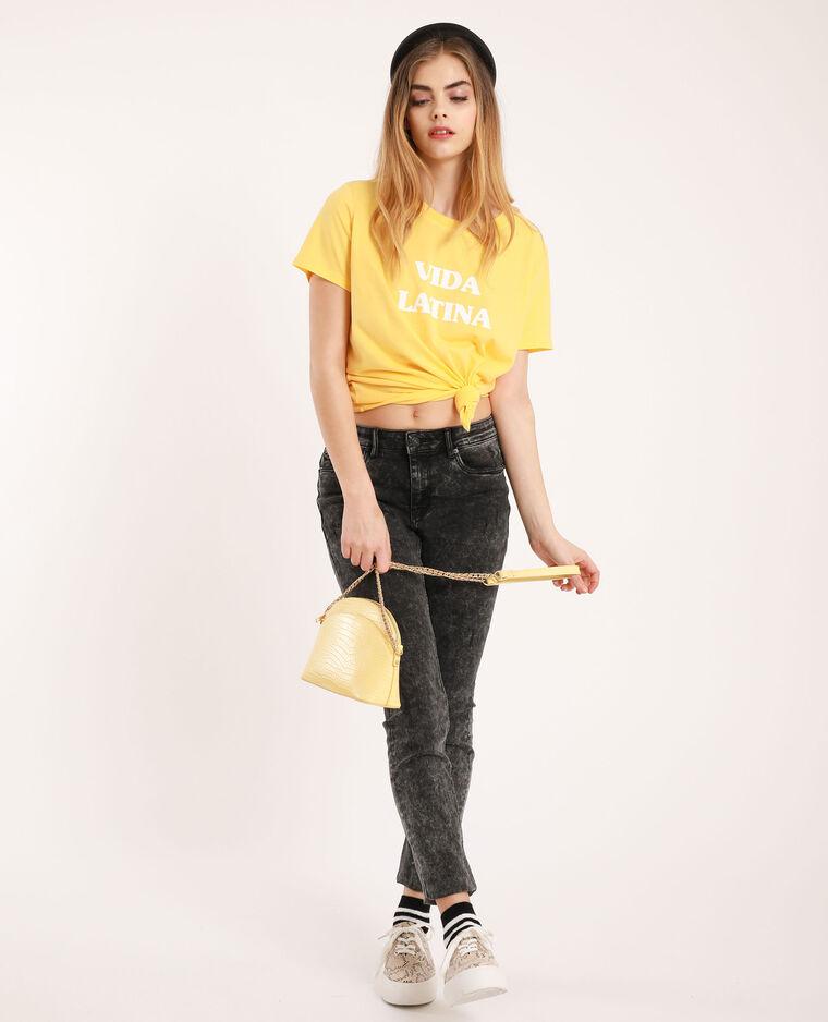 T-shirt con scritta giallo