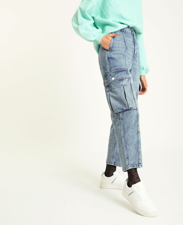 Jeans cargo blu denim