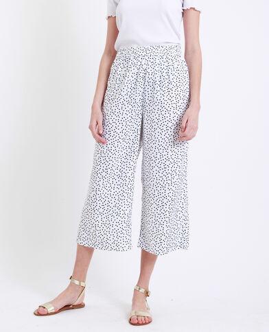 Pantalone morbido a pois bianco