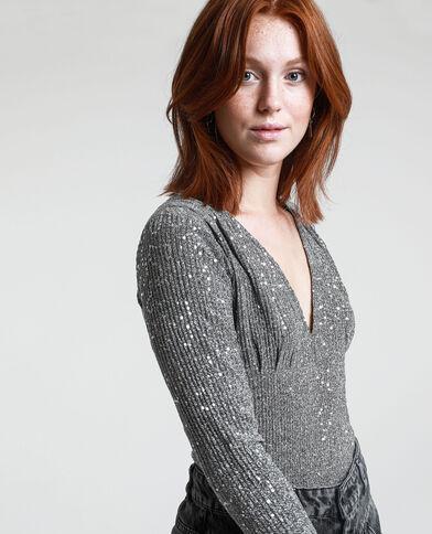 Body con paillettes grigio