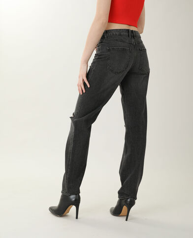 Jeans straight high waist nero