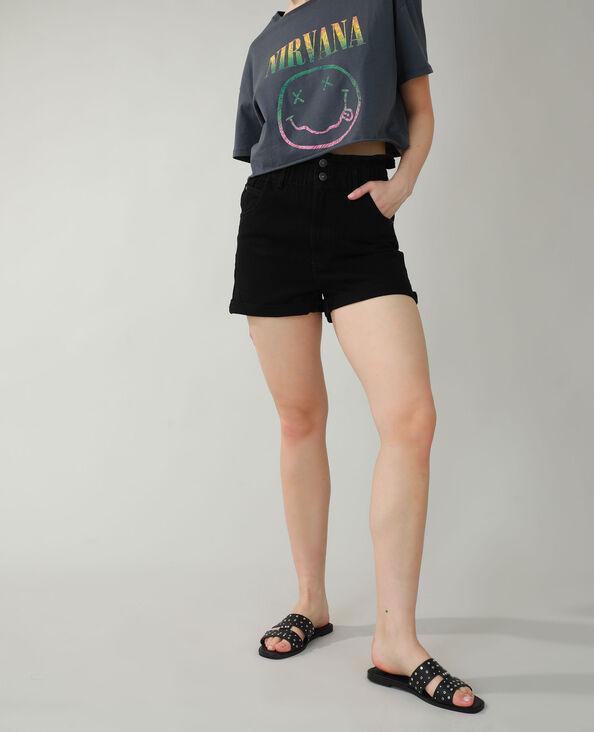 Short di jeans high waist nero - Pimkie