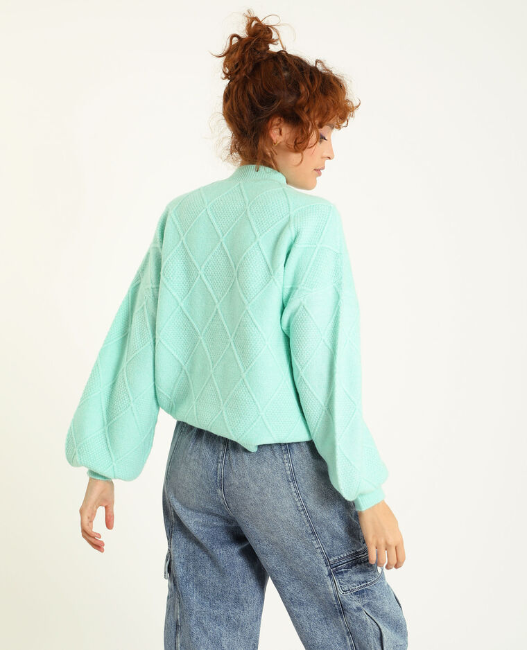 Pull in maglia intrecciata verde acqua