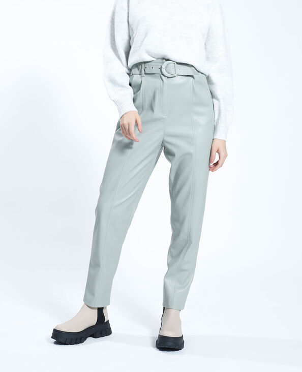 Pantalone a carota in similpelle verde - Pimkie