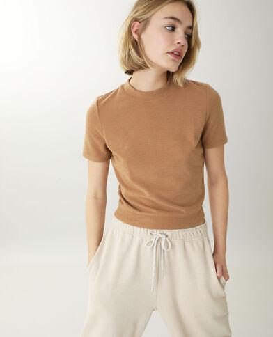 Top in maglia effetto peluche marrone