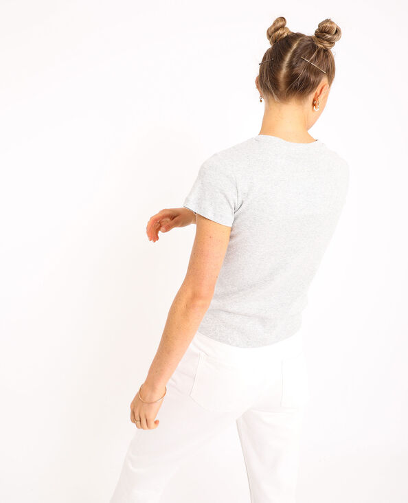 T-shirt basic grigio chiné
